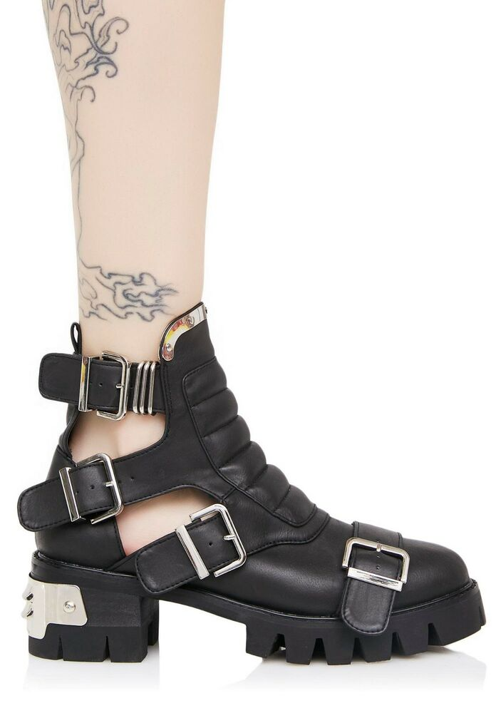 df57efbf6e7d Details about Current Mood Brand ROAD WARRIOR CUT-OUT Combat Platform Strap  On BOOTS Size 5
