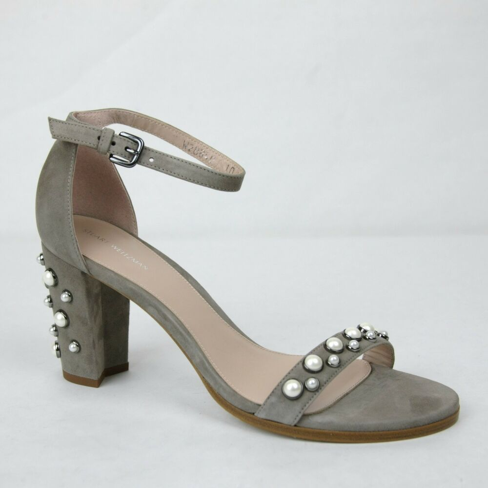 f8b06add219 Details about  455 New Stuart Weitzman Bingpearls Topo Suede Ankle Strap  Sandal US 10M