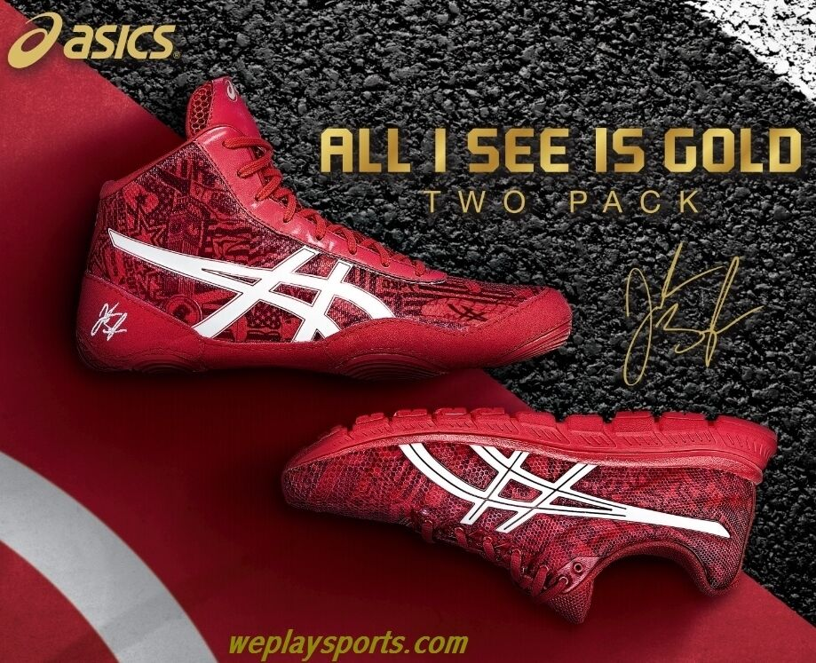 17333f0b7e87 ASICS JB Elite Wrestling and Training Shoes Red 2 pack Box Set RARE ...