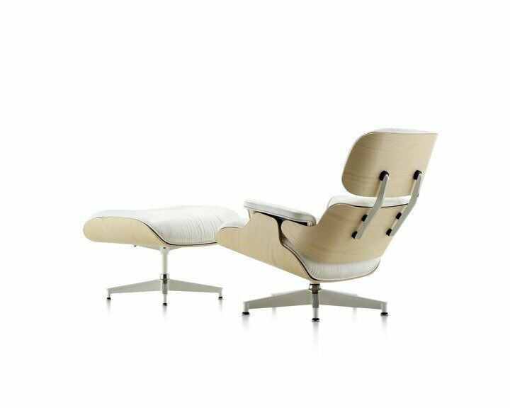 Admirable Eames Lounge Chair And Ottoman 100 Genuine Leather White Leather Walnut Wood Ebay Uwap Interior Chair Design Uwaporg