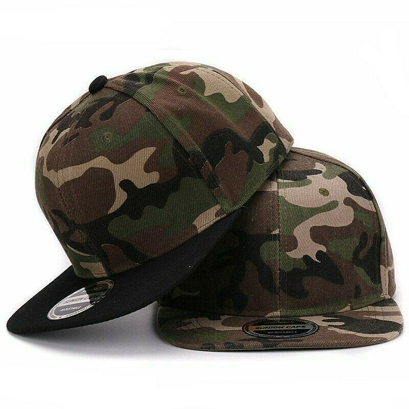newest be4a1 47fe7 Details about Camouflage Snapback Polyester Cap Blank Flat Camo Baseball  Cap Wide Brim Cool