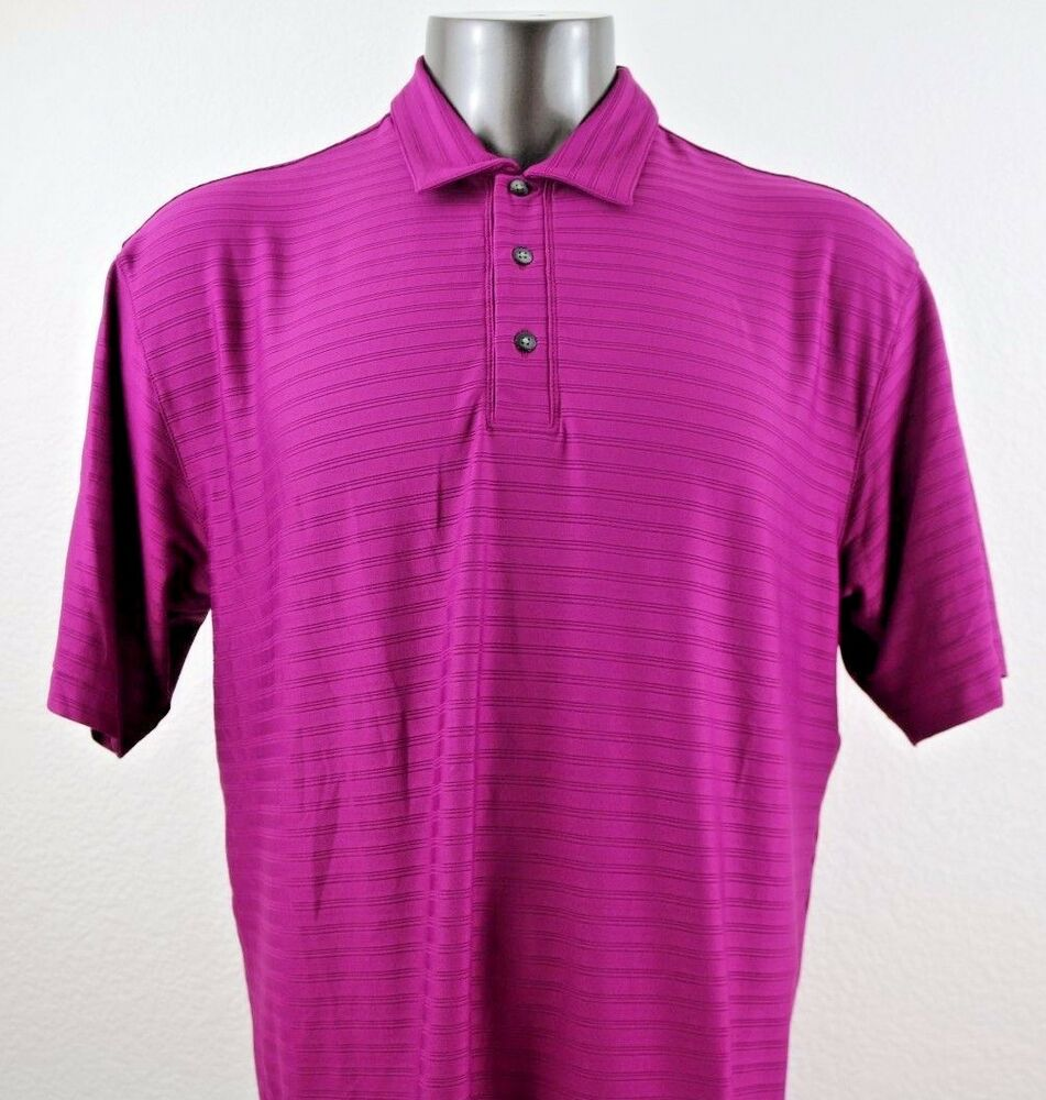 Nike Fit Dry Tiger Woods Mens Short Sleeve Purple Polo Shirt Size L