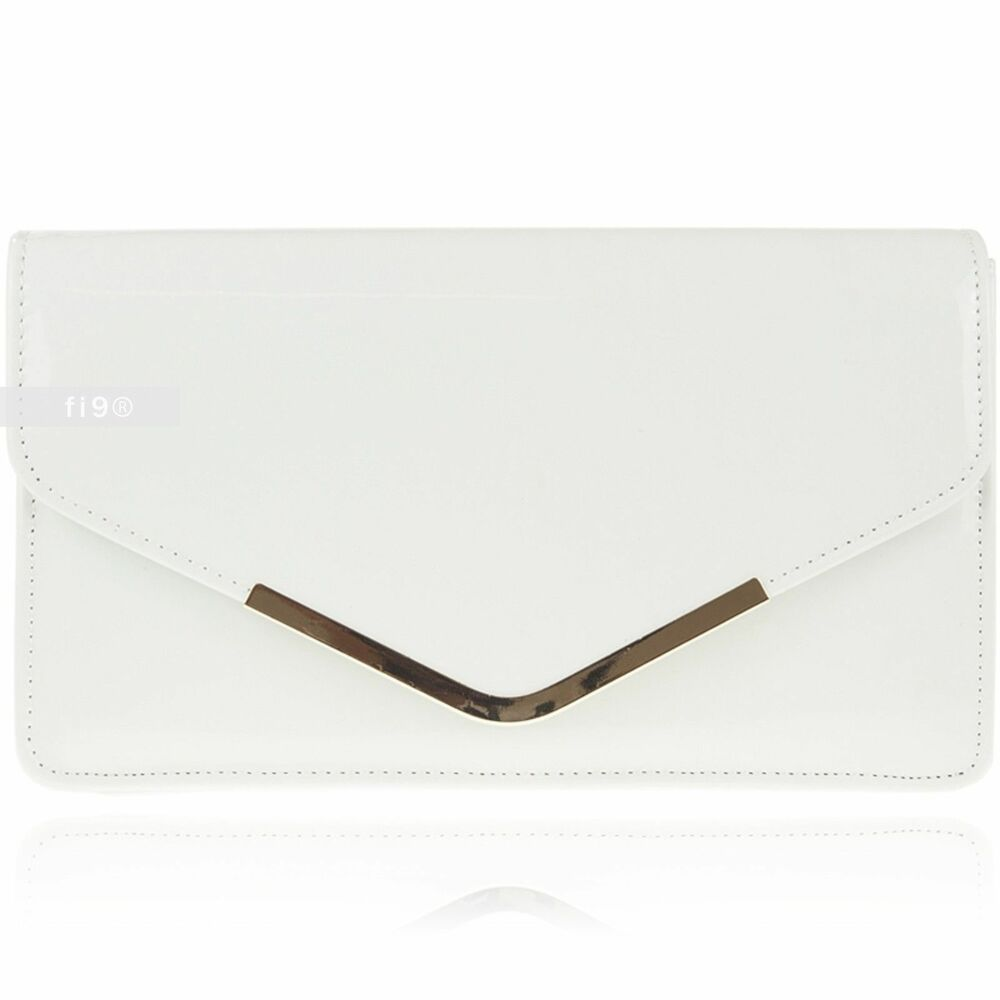 4b96edea05e2 Details about New Stylish White Patent Wedding Ladies Party Prom Evening  Clutch Hand Bag Purse