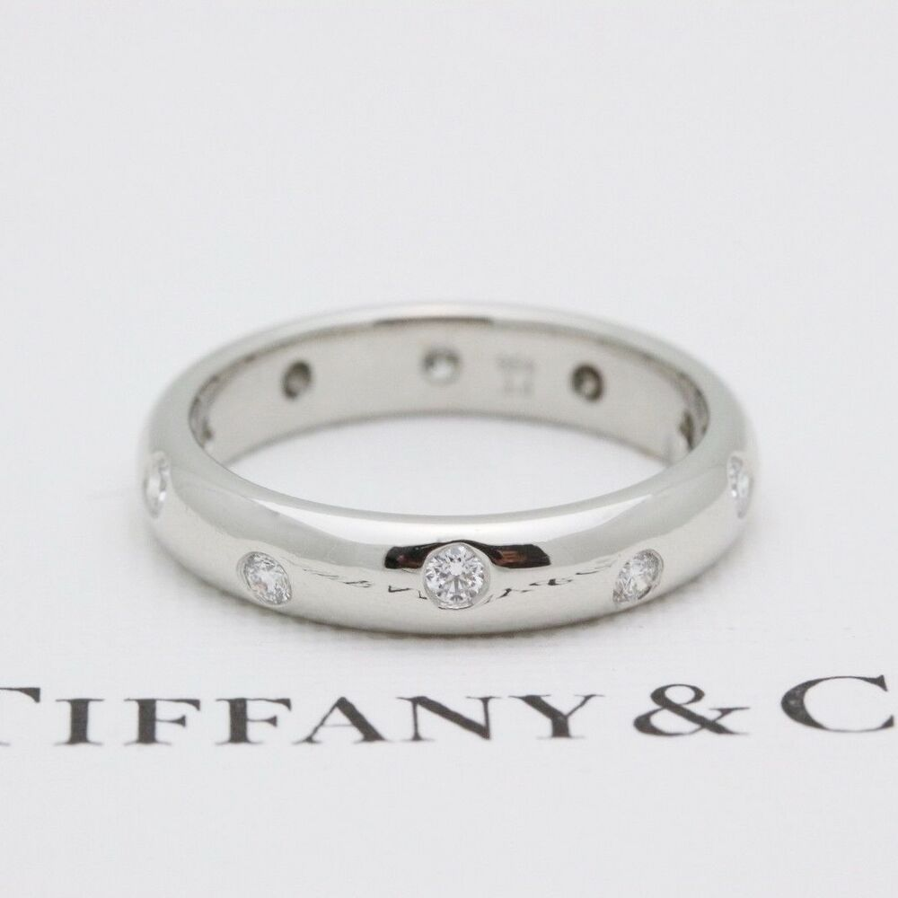 492ec2172 Details about Authentic Tiffany & Co Etoile Platinum Diamond Wedding Band  Ring 0.22 tcw 4mm