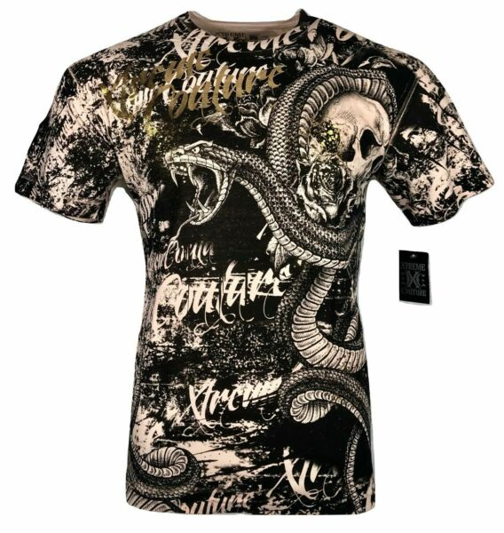 XTREME COUTURE by AFFLICTION Men T-Shirt BLACKTOOTH Skull Biker MMA GYM S-4X $40