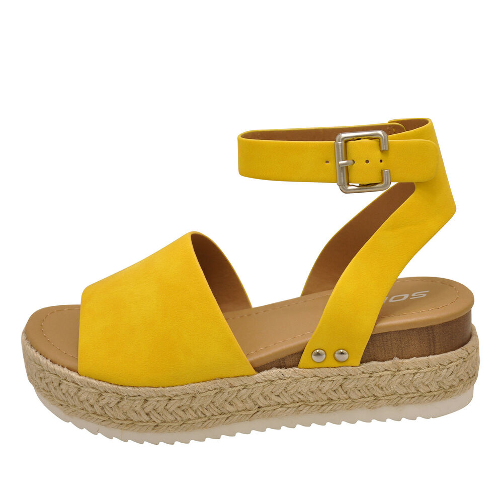 714d17ab013 Details about Soda TOPIC Yellow Women s Platform Wedge Espadrille Sandals