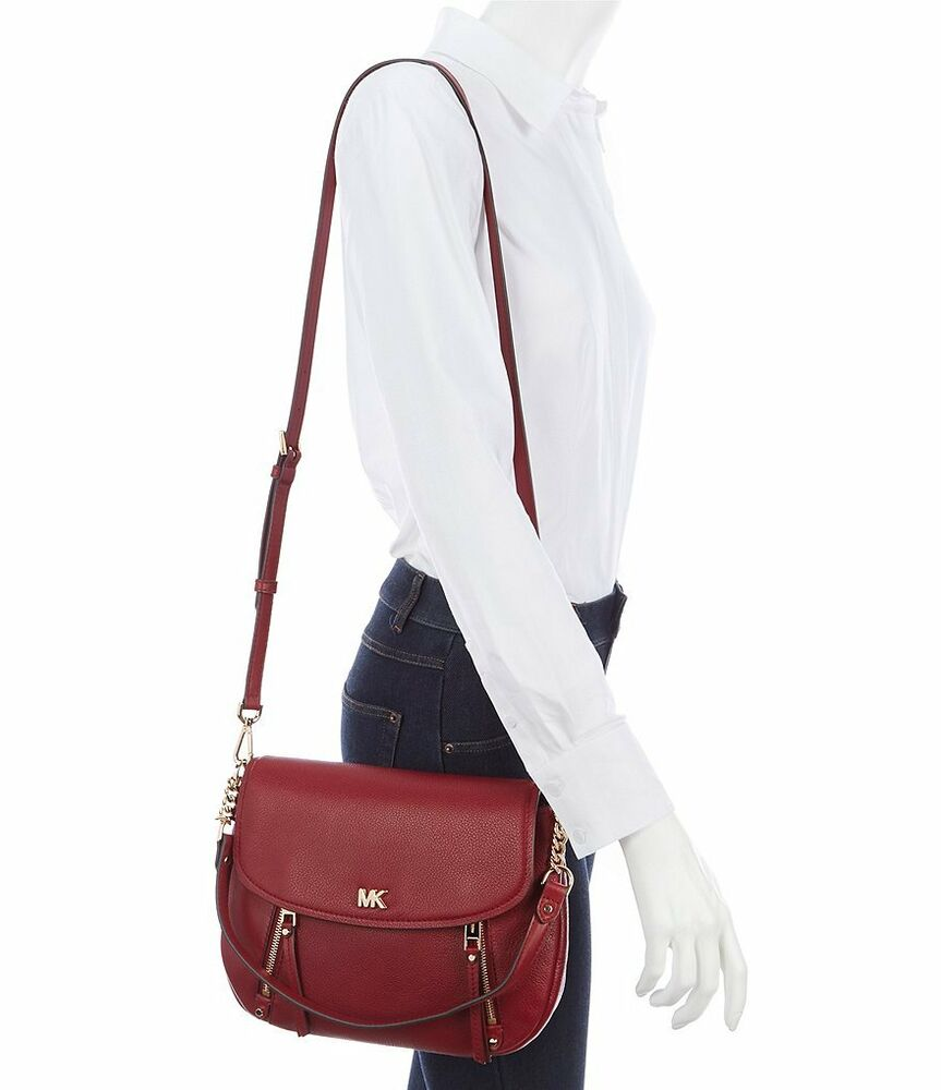 66099313cc37 Details about NWT Michael Kors Evie Medium Pebbled Leather Flap Shoulder Bag  in Maroon