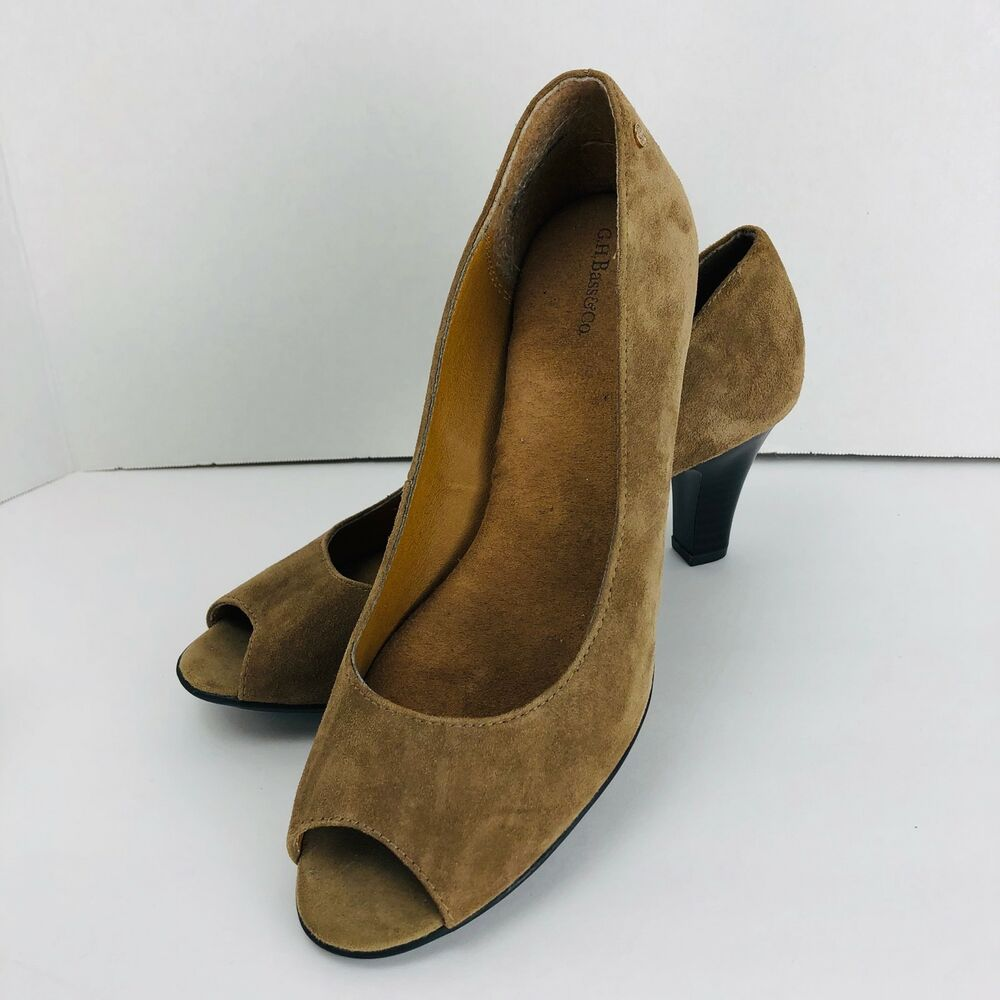 4ef53b5dc13 Details about G H Bass Tan Suede Leather Peep Toe Classic Pumps Heels 8.5 M  Shoes