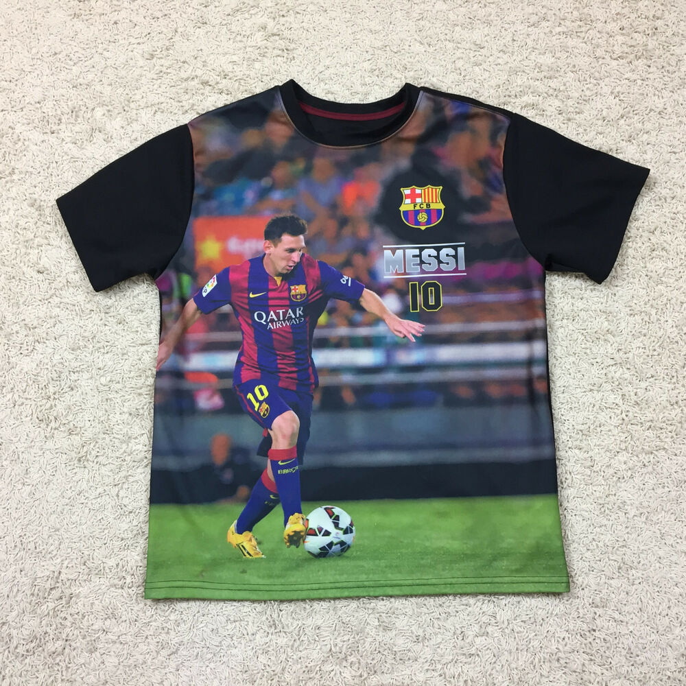 43bebf4cd19 Details about FCB Barcelona LIONEL MESSI 10 Soccer Photo Print Jersey Black  Men s L Qatar
