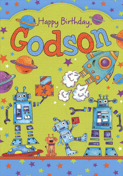 Details About Rockets And Robots Birthday Card For Godson Greeting By Designer Greetings