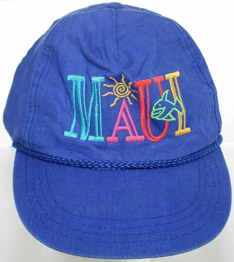 360541d149e3b Details about Vintage Maui Hawaii Snapback Cap - Hawaiian Headwear Blue Baseball  Hat Rope Brim