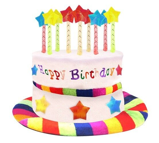 Happy Birthday Hat Cake With Mock Candles Multi Coloured New
