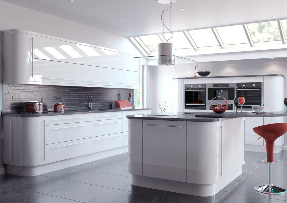 Details About Vivo High Gloss White Slab Complete Kitchen Cabinets Cupboards Units With Doors