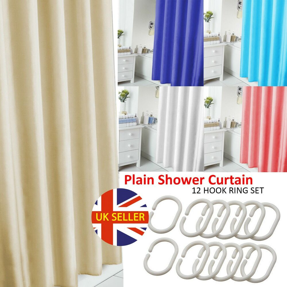 Details About BATHROOM LONG PLAIN FABRIC SHOWER CURTAIN WATERPROOF WITH 12 HOOKS RING SET