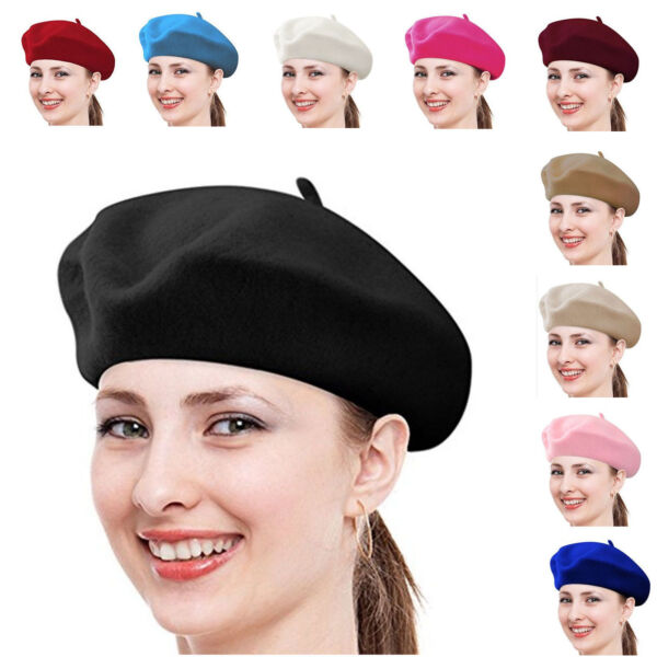 Women French Beret  Wool Solid Color Plain Wool
