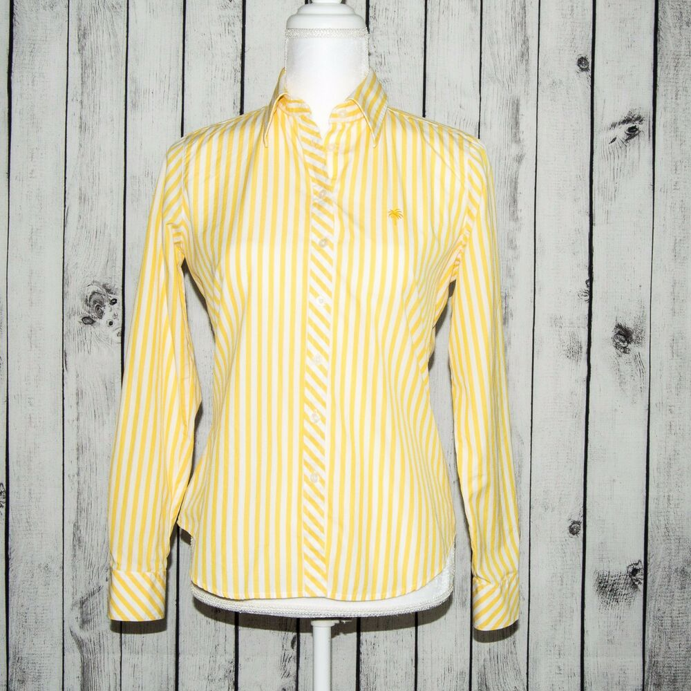 Lilly Pulitzer Womens Button Front Shirt Yellow White Striped