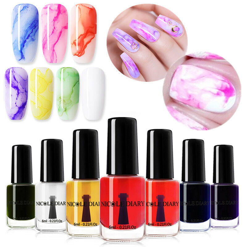 NICOLE DIARY 6ml Watercolor Marble Gradient Ink Blossom Nail Polish ...