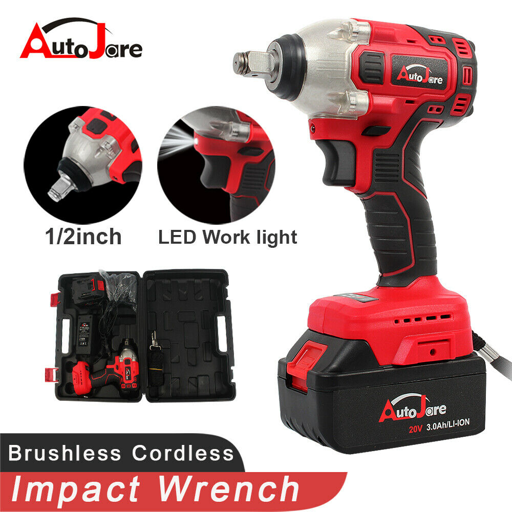 Details About 20v Cordless Brushless Impact Wrench 1 2 Inch Lithium Ion Battery Set Heavy Duty