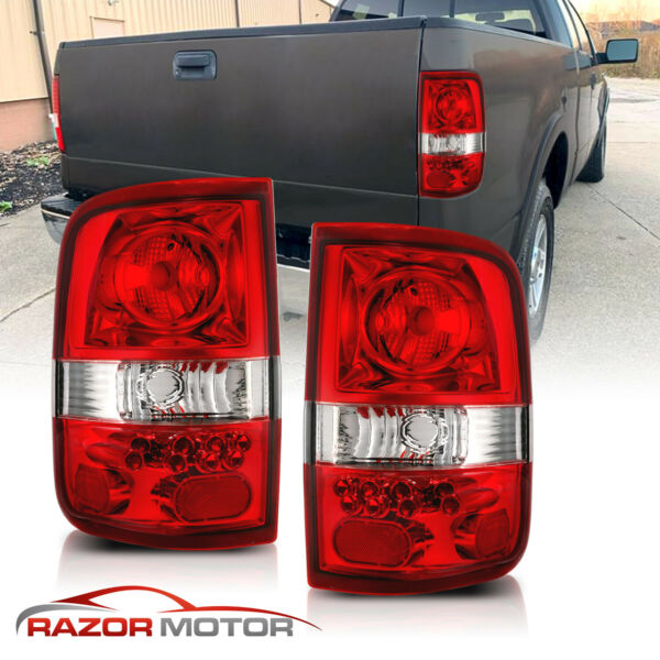 2004-2008 Red Clear Replacement Back Brake Tail Lights Pair For Ford F150 F-150