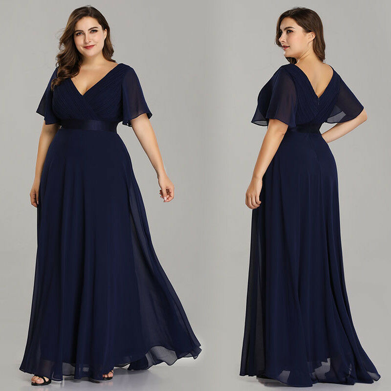 5586c3e0f65 US Plus Size Long Formal V-neck Evening Party Dresses Navy Blue Prom Gowns  09890