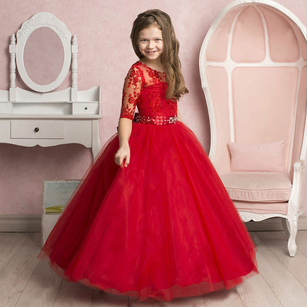 cbc91a6bb Details about Red Short Sleeve A-line Applique Princess Flower Girl Dress  Party Long Gowns
