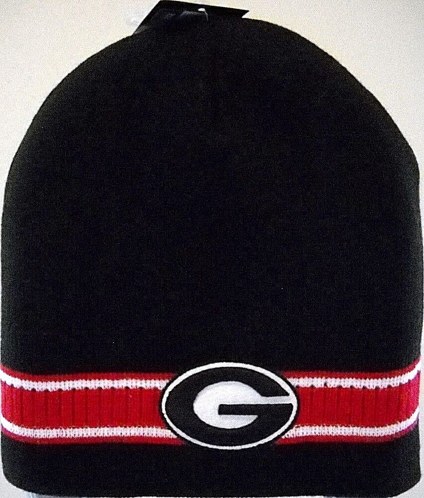 Details about GEORGIA UGA BULLDOGS ADULT 2-LOGO EMBROIDERED KNIT HAT CAP  TOBOGGAN WITH STRIPES bb9a3f86bcb
