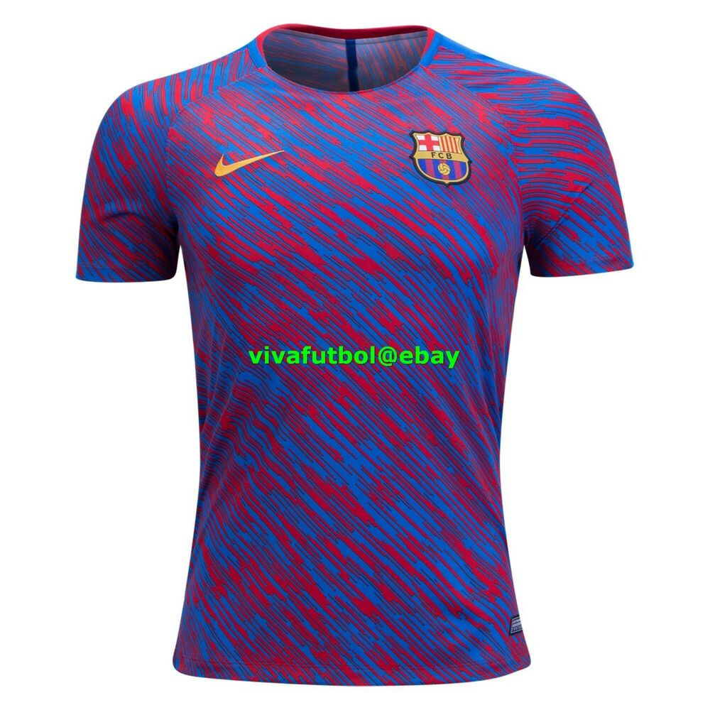Details about NEW Nike Mens FC Barcelona 2017 18 Pre-Match Training Soccer  Jersey Top LARGE L 4be10de99