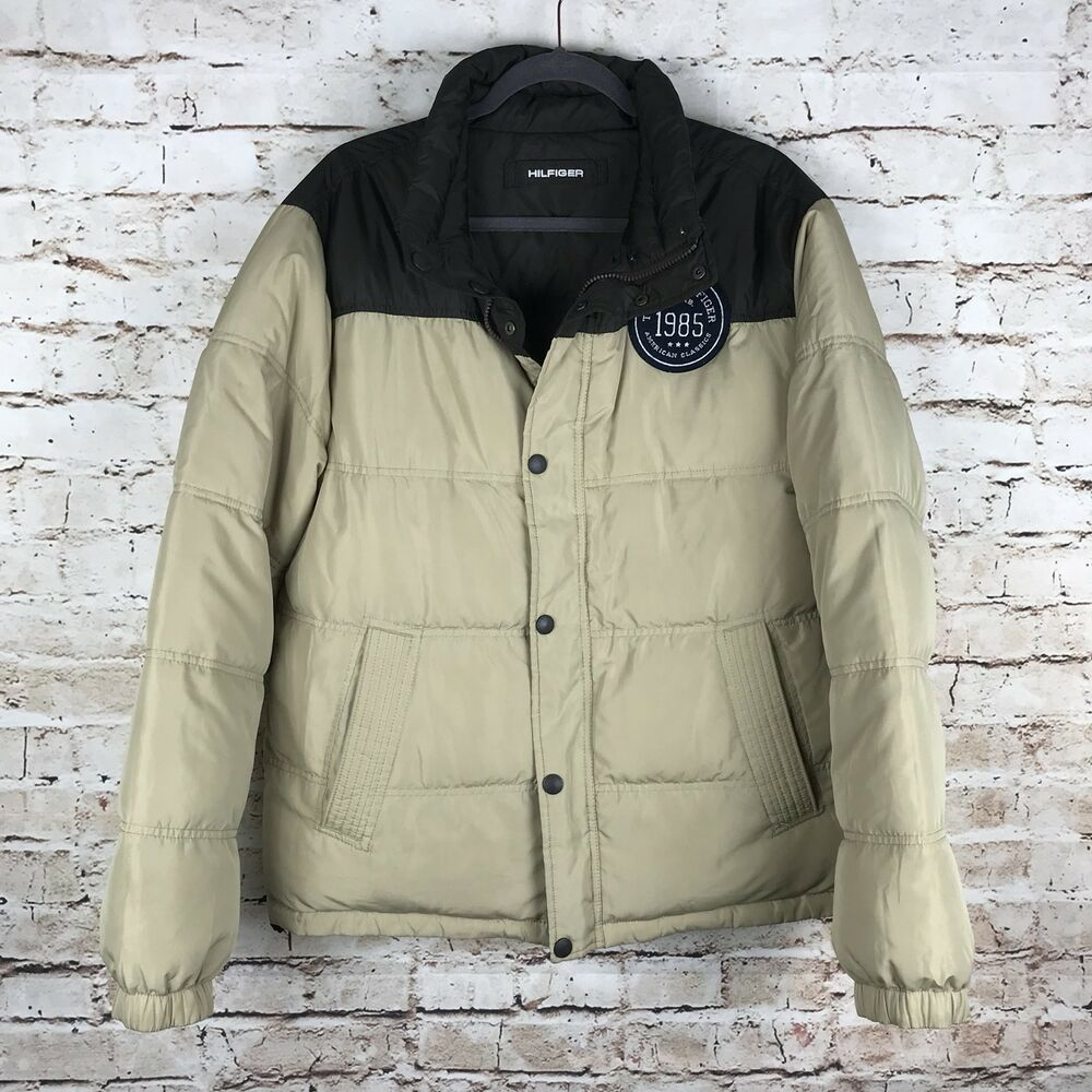 6ef5bba6259f Details about Tommy Hilfiger Mens Brown/Tan Size Large Reversible Down  Puffer Winter Jacket