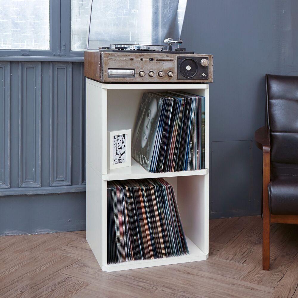 Latest Collection Of Eco 2-shelf Vinyl Lp Record Album Storage Cube Black Lifetime Guarantee Music