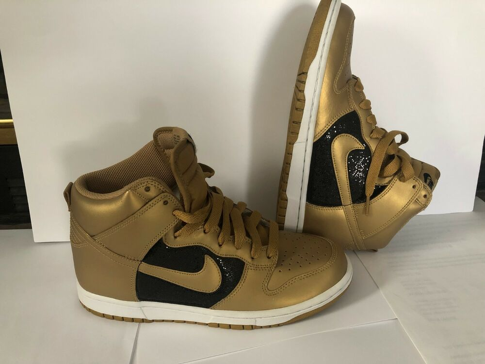 Details about WOMEN NIKE DUNK METALLIC GOLD AND BLACK GLITTER SIZE 8.5 2dfc55b20d