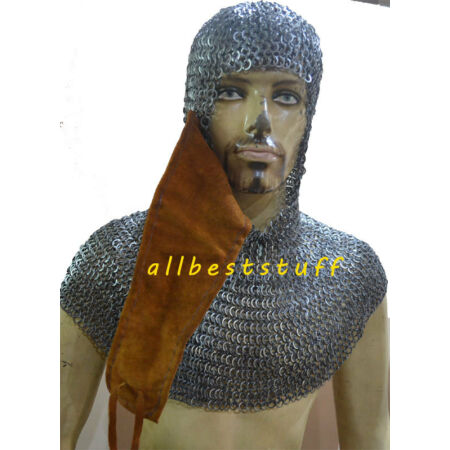 img-Wedge Riveted with Alternate Solid Ring Chain mail Coif with Side Ventail Hood