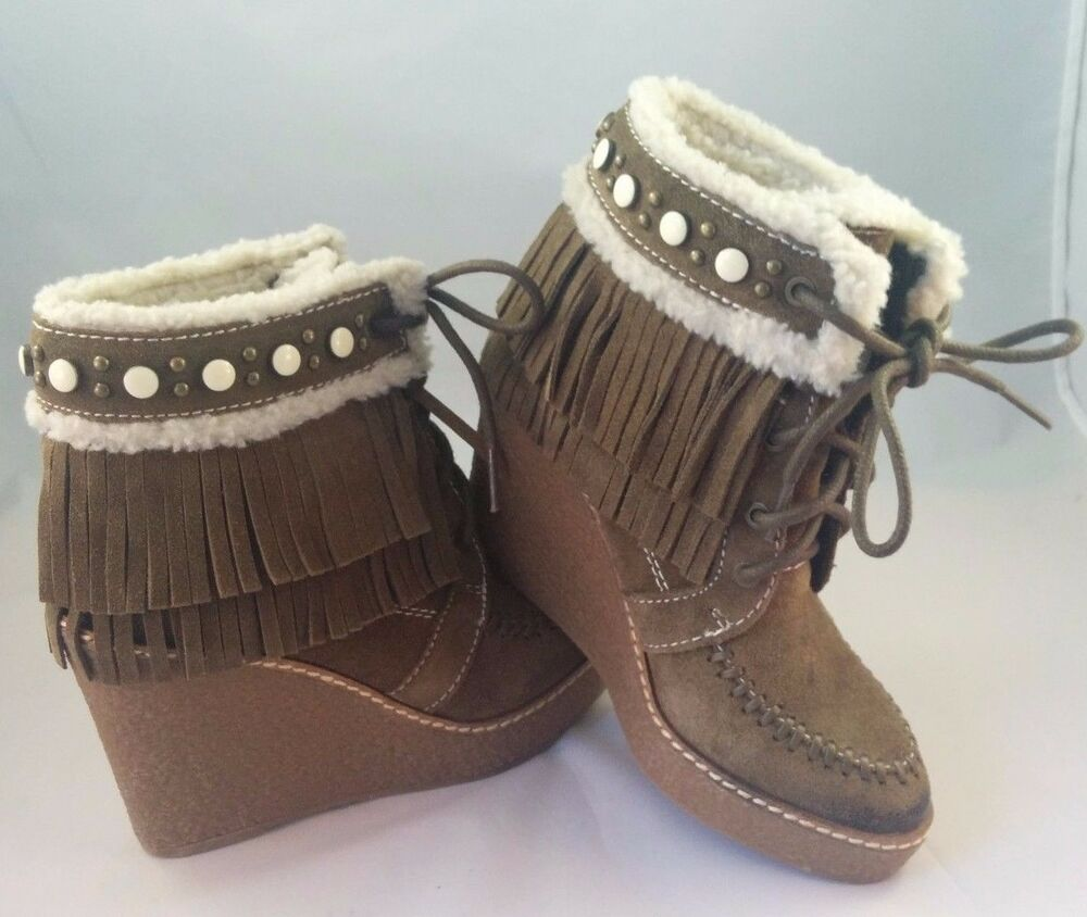 27c629d4e27f  150 SAM EDELMAN Kemper Faux Shearling Fringe Suede Wedge Boots Moss Green  4 NEW