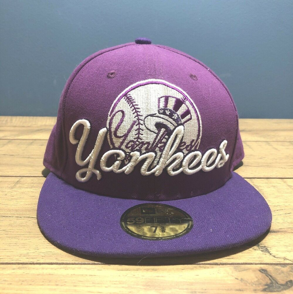 34d00d9e656 Details about New Era 59Fifty Hat Mens MLB New York Yankees Purple Fitted  7-3 8 5950 Cap EUC
