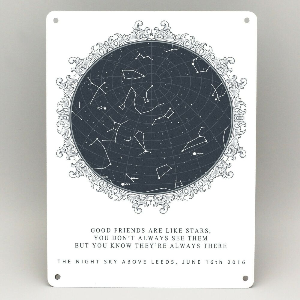 Birthday Star Map.Personalised Star Map Print Metal Sign Good Friends Gift Friendship