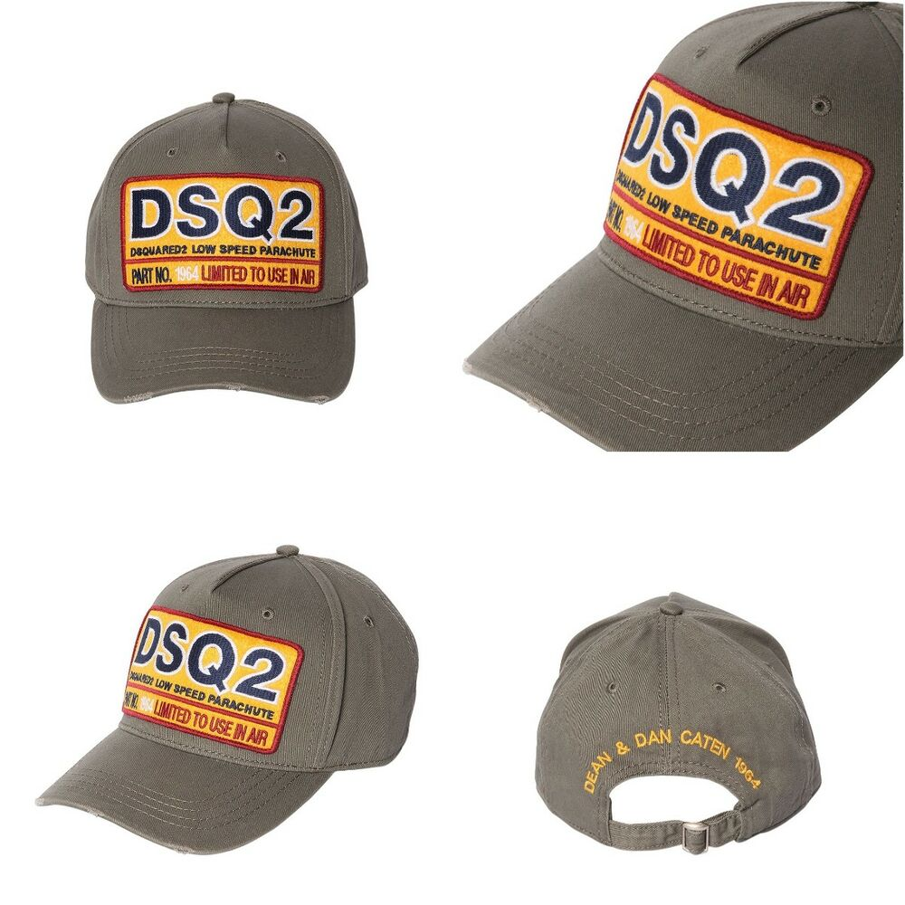 Details about ORIGINAL DSQUARED2 Military (Khaki) DSQ2 Logo Patch Baseball  Cap from FW2017  85 d895150f235
