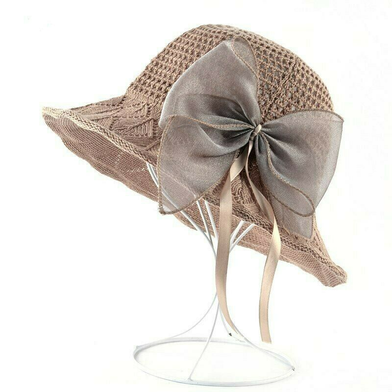 0825b00f5d4 Details about 2018 Summer Beach Hat For Women Anti-UV Sun Cap Ladies Sweet  style Bow-knot