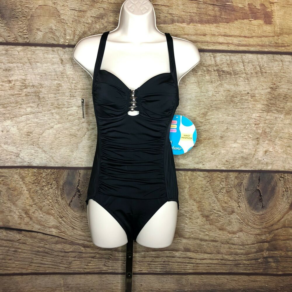 80db0821c Details about Swim Solutions Womens 8 One Piece Swimsuit Tummy Control  Shirred Black Beaded