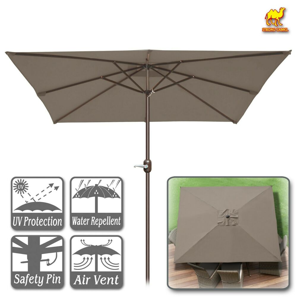 Details About 8 X8 Square Patio Umbrella Deck Outdoor Sunshade Table Market W Crank