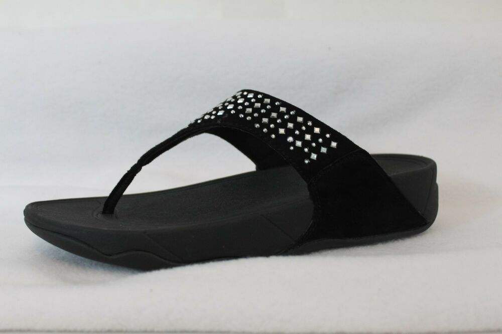 best shoes various styles where can i buy FitFlop Novy Black Studded Flip Flops Thongs Sandals Suede Silver ...