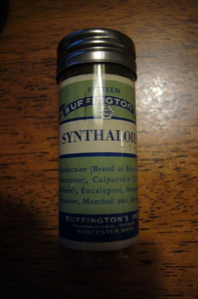 Vintage Buffington's Pharmaceutical Chemists Worcester MA Synthaloids Container