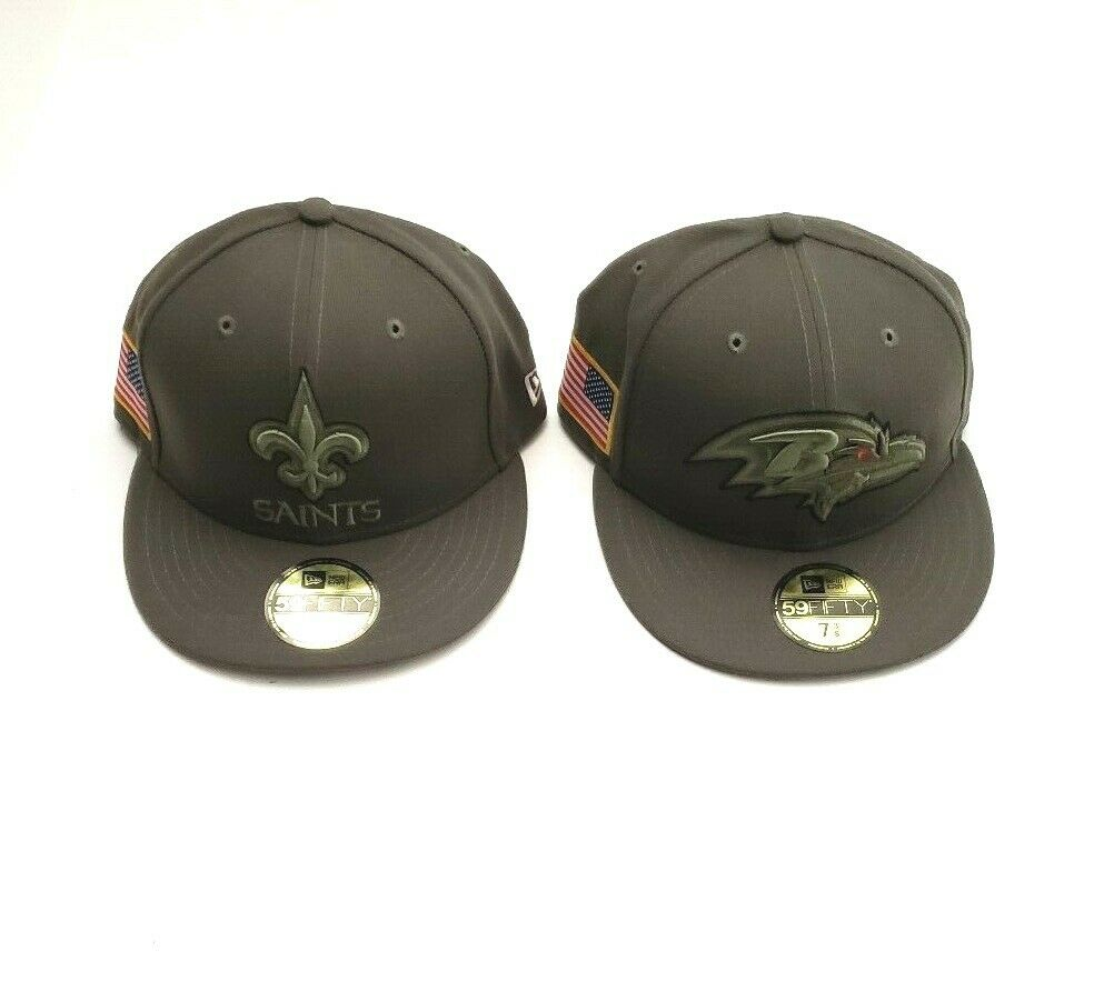 e72372a7e New Era 59Fifty NFL Salute to Service Fitted Hat Olive Various Teams Sizes  7 3 8
