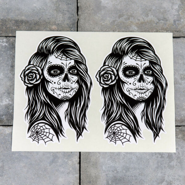 2 x Day Of The Dead Stickers - Calavera - Scrapbooking - iPad - MacBook - 5559