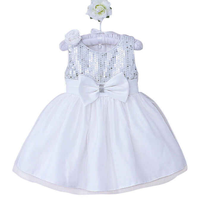 5bbf181e9 Baby Girls White Silver Christening Baptism Occasion Party Dress 3 ...
