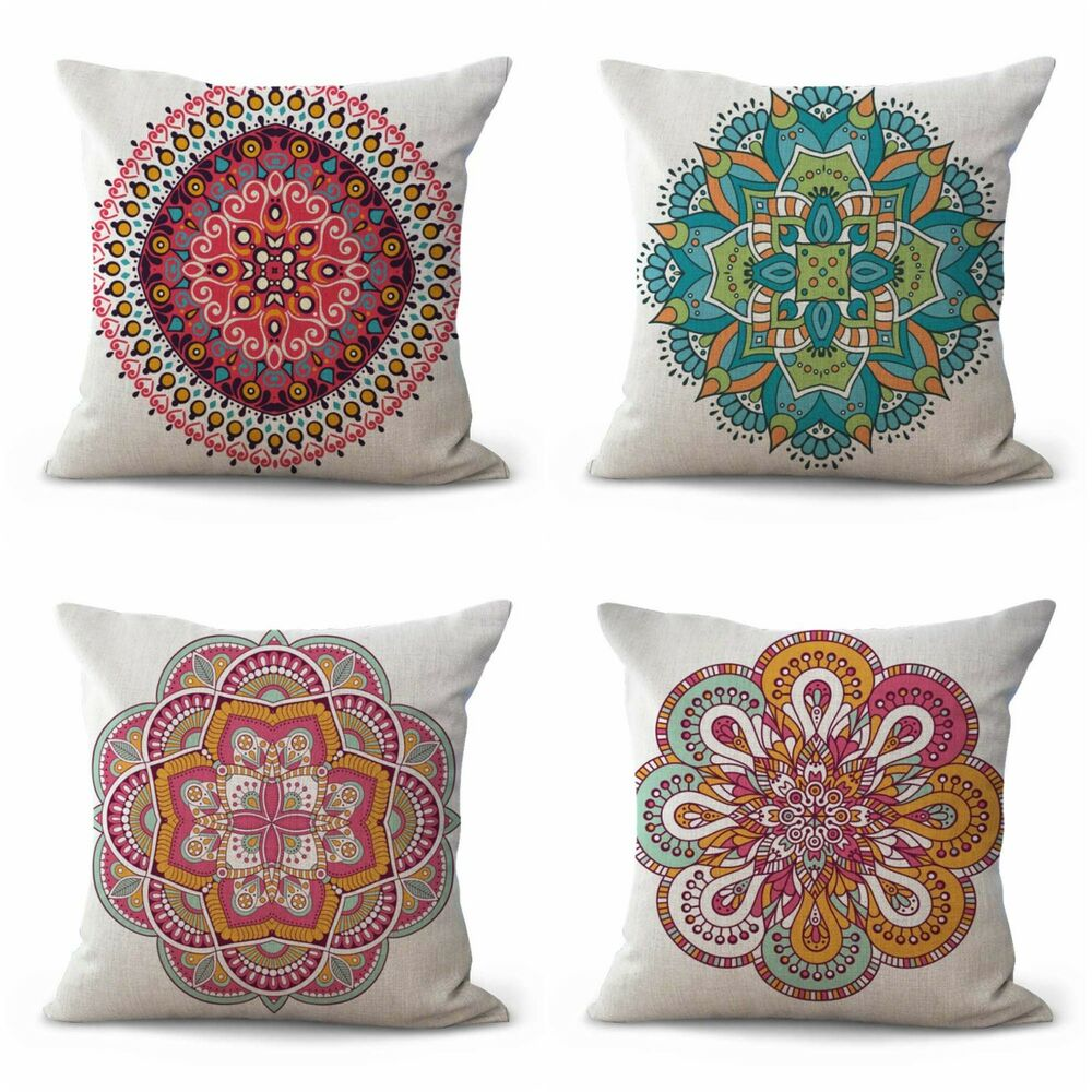 Details About Us Er Set Of 4 Cotton Throw Balance Wholeness Mandala Cushion Covers