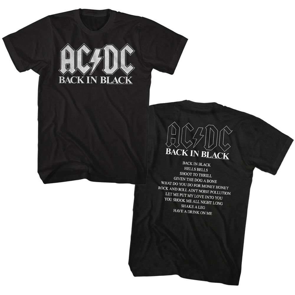 8de7abf3 Details about AC/DC Back In Black Song List Double Sided Adult T Shirt  Heavy Metal Music