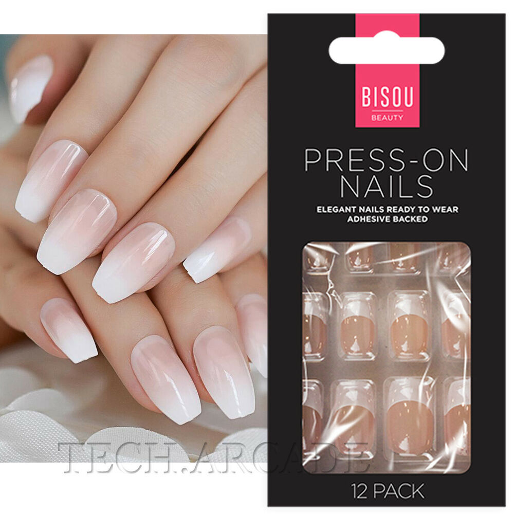 12 Press on False Nails Polished Painted French Manicure Styling Kit ...