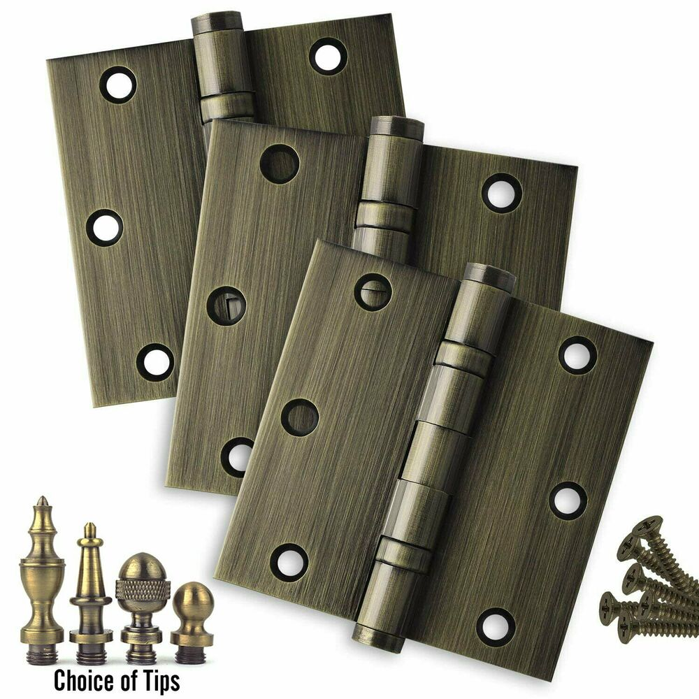 Details About Door Hinges 3.5 X 3.5 Solid Brass Ball Bearing Antique Brass  With Tips Set Of 3