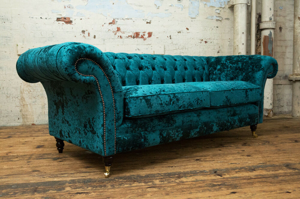 Details About Handmade 3 Seater Luxury Crushed Velour Teal Green Velvet Chesterfield Sofa