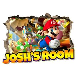 Personalised Any Name Super Mario Wall Decal 3D Art Sticker Vinyl Room Bedroom 2