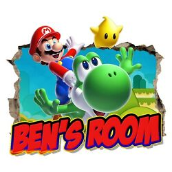 Personalised Any Name Super Mario Wall Decal 3D Art Sticker Vinyl Room Bedroom 4